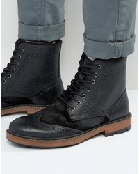 Frank Wright Brogue Boots In Black Suede Leather