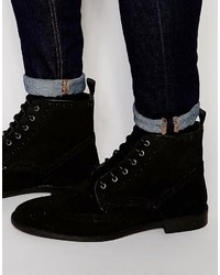 Asos Brogue Boots In Black Suede