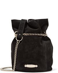 Lanvin Aumoniere Mini Suede Bucket Bag Black