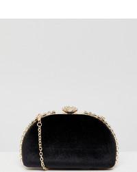 True Decadence Black Embellished Hard Clutch
