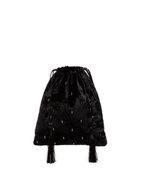 ATTICO Black Velvet Tassel Clutch Bag