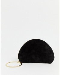 ASOS DESIGN Suede Half Moon Clutch Bag With Wristlet Ring Detail