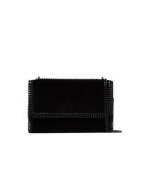 Stella McCartney Black Falabella Small Velvet Shoulder Bag