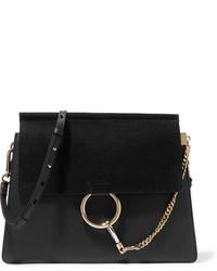 Chloé Faye Medium Leather And Suede Shoulder Bag Black