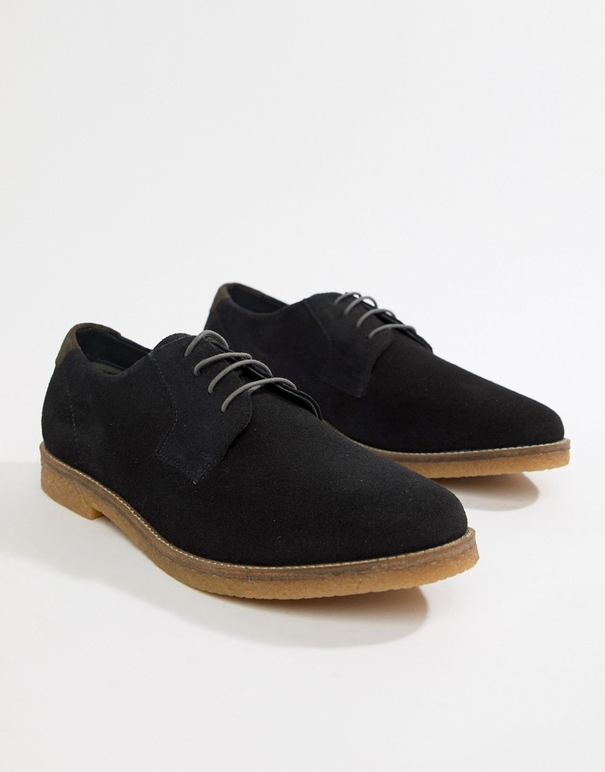 Silver Street Faux Suede Lace Up Shoes In Black