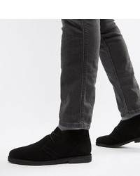ASOS DESIGN Wide Fit Desert Boots In Black Suede