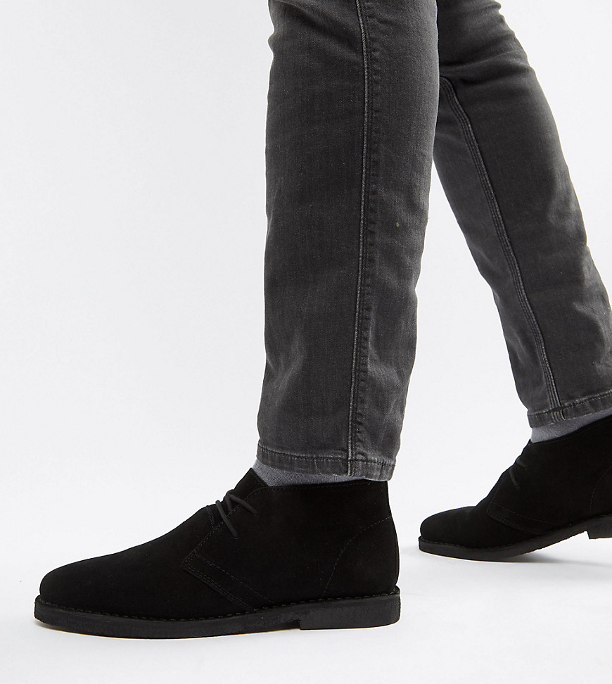 ASOS DESIGN Wide Fit Desert Boots In Black Suede