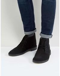 Clarks Originals Suede Desert Boots In Black
