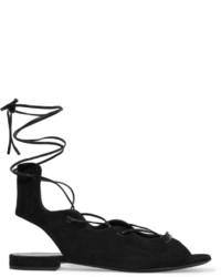 Saint Laurent Lace Up Suede Sandals Black
