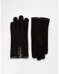 Asos Collection Suede Gloves With Zip Detail