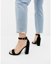 New Look Barely There Heeled Sandal In Black