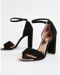 Ted Baker Black Suede Barely There Block Heeled Sandals