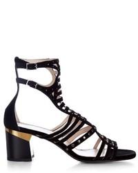 Lanvin Block Heel Suede Gladiator Sandals