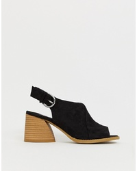 Faith Dani Black Casual Block Heeled Sling Back Sandals