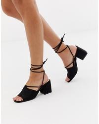 Public Desire Heidi Black Ankle Tie Mid Heeled Sandals