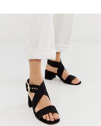 ASOS DESIGN Hip Hop Block Heeled Sandals In Black