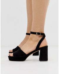 ASOS DESIGN Hockey Platform Heeled Sandals In Black