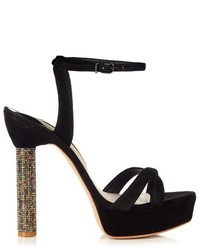 Sophia Webster Belle Crystal Heel Suede Sandals