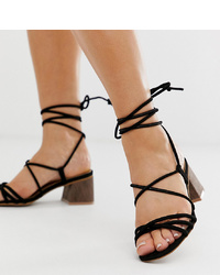 ASOS DESIGN Wide Fit Py Tie Leg Sandals In Black