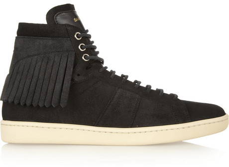 fa192ab26f80 ... Saint Laurent Fringed Suede High Top Sneakers ...