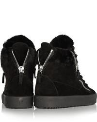 Black Shearling May London High-Top Sneakers Giuseppe Zanotti ttnAQ2