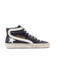 Golden Goose Deluxe Brand Slide Distressed Denim Suede And Leather High Top Sneakers