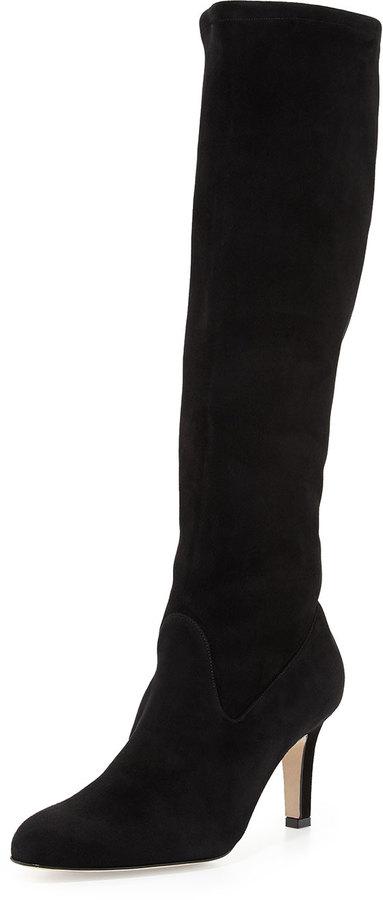0173d3444ca ... Manolo Blahnik Pascaputre Suede Knee High Boot Black ...