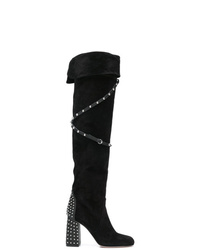RED Valentino Red Studded Knee Length Boots