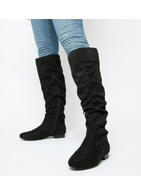 ASOS DESIGN Wide Fit Connie Faux Shearling Knee Boots