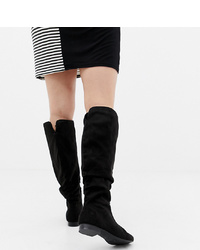 ASOS DESIGN Wide Fit Extra Wide Leg Connie Faux Shearling Knee Boots