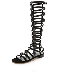 Black Suede Knee High Gladiator Sandals