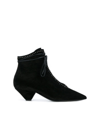 Saint Laurent Blaze Studded And Laced Ankle Boots