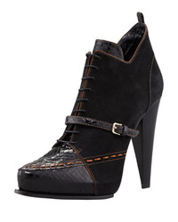 Derek Lam Donya Snake Suede Lace Up Bootie Black
