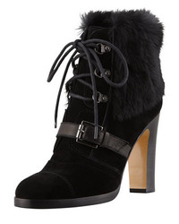 Grandly suede rabbit fur lace up boot black medium 283146