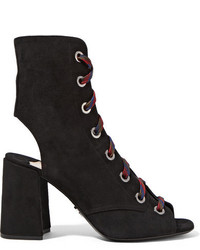 Lace up suede ankle boots black medium 818517