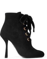 Lanvin Lace Up Suede Ankle Boots Black