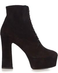 Saint Laurent Candy Lace Up Suede Platform Ankle Boots