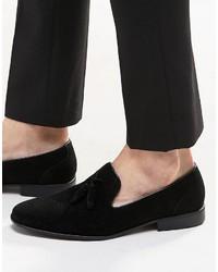 Asos Brand Tassel Loafer In Black Faux Suede
