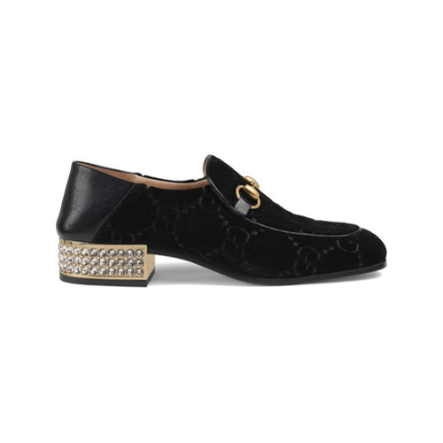 102eecb3052c65 ... Gucci Horsebit Gg Velvet Loafers With Crystals ...