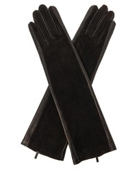 Leather and suede long gloves medium 129879