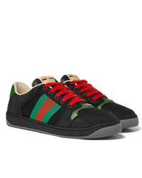 Gucci Screener Webbing Trimmed Leather Suede And Canvas Sneakers