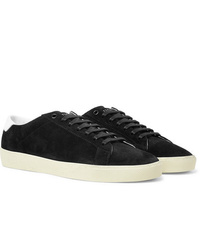 Saint Laurent Sl06 Court Classic Leather Trimmed Suede Sneakers