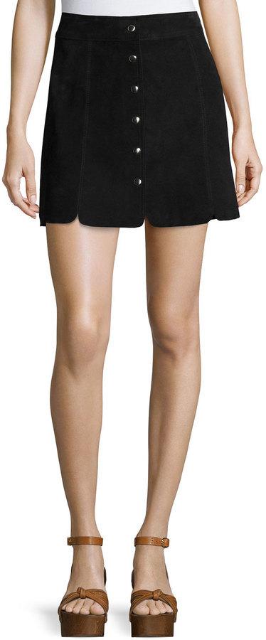 81e4ea7c59 ... Black Suede Mini Skirts Isabel Marant Anna Suede Button Down Skirt ...