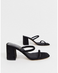 Stradivarius Faux Suede Py Mid Heel Sandals In Black