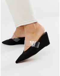 ASOS DESIGN Shortcake Wedge Mules In Black