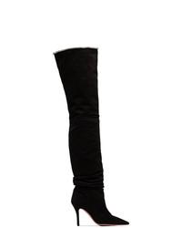 Amina Muaddi Barbara 95 Suede Over The Knee Boots