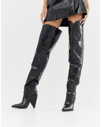 Lamoda Black Cone Heel Slouch Over The Knee Boots