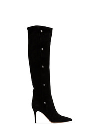 Gianvito Rossi Black Hazel Crystal Button 85 Suede Leather Boots