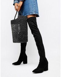 RAID Black Heeled Over The Knee Boots Suede