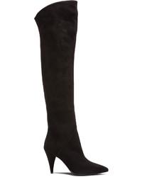Saint Laurent Thigh High Cat Suede Boots